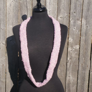 Pink Tunisian crochet cowl scarf, pink hand crochet scarf, womens accessory