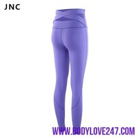 Black Strap Wide Waist Yoga Pants for Women Fitness Running Tights