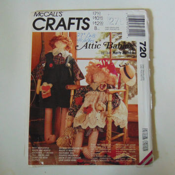 McCall's Crafts 720 Attic Babies Sewing Pattern for 27 inch tall Doll with clothes UNCUT