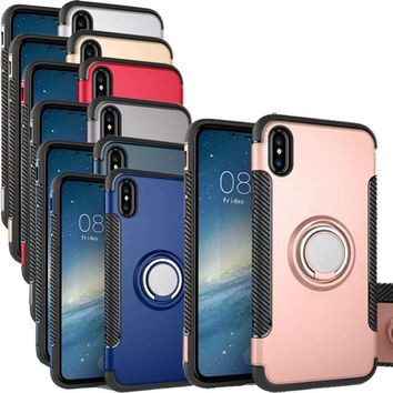For iPhone X Case Dual Armor Rugged Case for Apple iPhone X Cover NEW Hybrid Heavy Duty Finger Ring Stand Protective Phone Shell
