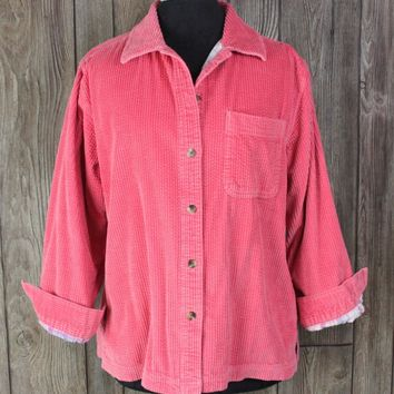 LL Bean Pink Flannel Lined Wale Corduroy Shirt Jacket MP M Petite size Womens