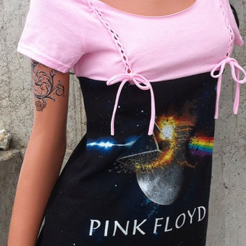 Pink Floyd Shredded Pink and Black Dress