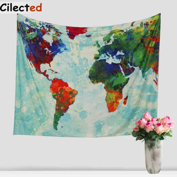 New World Map Printed Mandala Tapestry Wall Hanging Hippie Tapestry Beach Throw Rug Blanket Boho Wall Carper Beach Towels