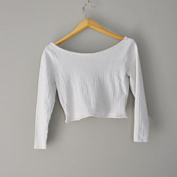 Upcycled Boho Crop Sweater in Winter White/Handstitched Eco Clothing/Kanji Symbol Patchwork/ Wearable Art  LayeringTop for Obi Style Wraps