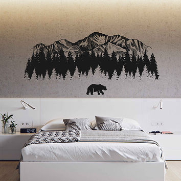 Mountain Wall Decals bear Wall Decals Woodland Wall Decals Mountain wall art Nursery Decor Woodland Baby room for Bedrooms kik3428