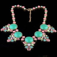Shorouk Style Chunky Necklace Pink Blue Crystals and Turquoise