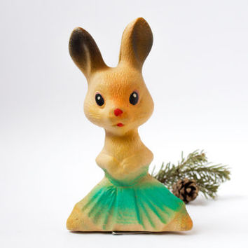 Vintage Mama Rabbit / Cute Soviet Collectable Rubber Squeaky Hare / 1970's - 80's Russian Kitsch Woodland Animal Toy / Forest Mom