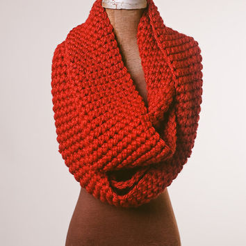 Red infinity scarf chunky valentines day by Shanionie on Etsy