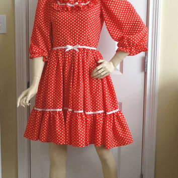 1980s Vintage Home Sewn Square Dance Dress in Red & White Polka Dots, Ruffle, Ribbon Trim, Sz 8-10, Vintage Square Dance Costume Dress
