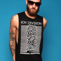 JOY DIVISION UNKNOWN PLEASURES VTG LOW CUT SIDES VEST CUSTOMISED T SHIRT PUNK