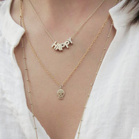 Happy Necklace | Pherrell WIlliams Happy Necklace | Gold Word Necklace | Gold Initial Necklace
