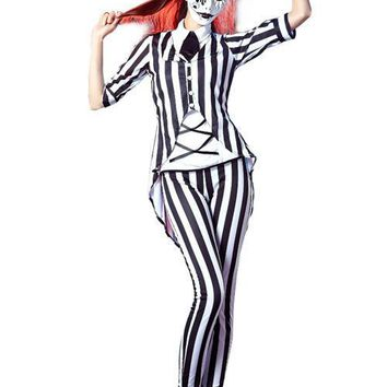 Graveyard Ghost Black White Striped Scary Halloween Costumes