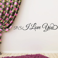 Wall Decals Quote PS I Love You Decal Bedroom Vinyl Letter Stickers Home Decor Wedding Gift T47