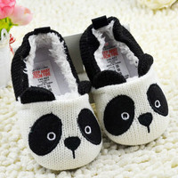 Lovely Cartoon Panda Baby Girls Boy Infant Crochet Knitted Soft Crib Shoes First Walkers 0-18 Months  SM6
