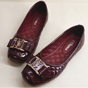 YSL Yves Saint Laurent 2018 new women's fashion casual shoes Wine red
