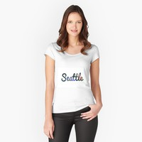 """""""Seattle"""" Women's Fitted Scoop T-Shirt by jessicaivy   Redbubble"""