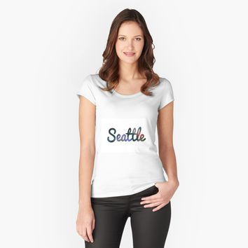 """Seattle"" Women's Fitted Scoop T-Shirt by jessicaivy 