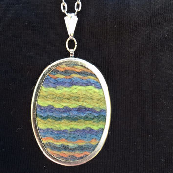 Hand Woven Pendant Necklace Blues Greens