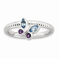 Sterling Silver Stackable Expressions Amethyst & Blue Topaz Butterfly Ring: RingSize: 7
