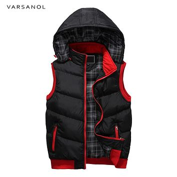 Mens Vest Jacket Winter Clothes Vests For Men Cotton Outwear Hooded Sleeveless Turn-down Collar Casual Army Green Tops