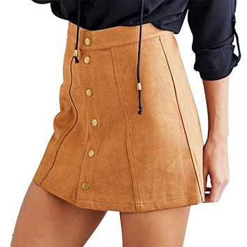Summer Skirts Sexy Faux Suede Women Skirt A-Line  Button Mini Female Skirts Plus Size