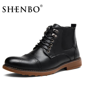 Fashion Brogue Men Boots, Black Lace Up Men Chelsea Boots,  Men Ankle Boots