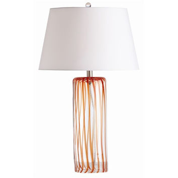 Arteriors Home Talia Electric Orange Wavy Stripe Glass Lamp