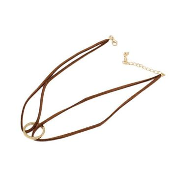 Fashion Double Velvet Hollow Circle Necklace