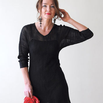 Little Black Linen Dress, with a V-neck, Scalloped Hem and Three Quarter length Sleeves, Knitted from Eco-Friendly Linen Yarn