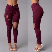 School On Sale Hot Deal Casual Pants Stretch Cotton Ripped Holes Pen [10390656653]