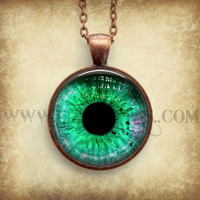 Green Eye Necklace Glass Dome Art Picture Pendant Photo Pendant Handcrafted Jewelry by Lizabettas