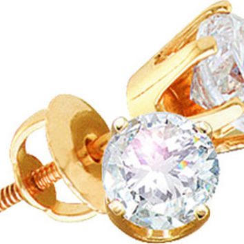14kt Yellow Gold Womens Round Diamond Solitaire I3 JK Screwback Stud Earrings 1/2 Cttw 11596