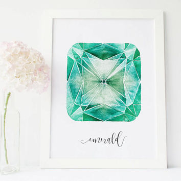 Emerald crystal emerald stone art gemstone decor, crystals and gem stones, gemstone art, gem print, gem art, painted stone wall art