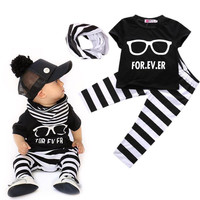 Newborn 0-24Months Baby Boys Top T-shirt + Pants + Scarf Baby Outfits 3PCS sets baby boy clothes