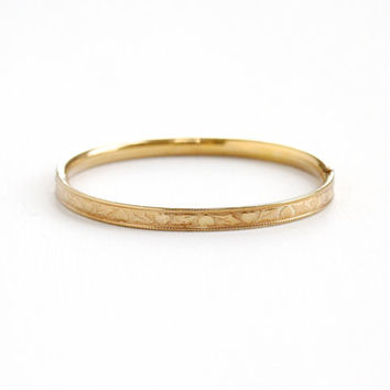 Vintage 12k Yellow Gold Filled Child's Bracelet - 1950s Small Bangle Leaf & Heart Motif Jewelry Hallmarked HFB, H.F. Barrows Co