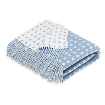 Merino Lambswool Spot Eau De Nil Throw Blanket