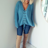 Pull Me Closer Sweater: Arctic Blue