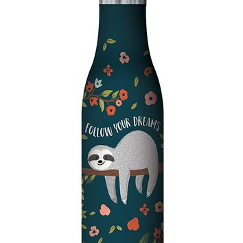 Follow Your Dreams Sloth Insulated Stainless Steel Medium Water Bottle