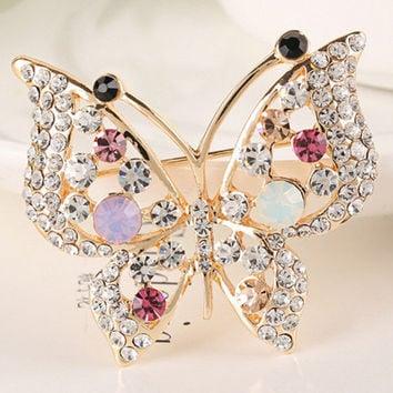 Colorful rhinestone butterfly brooch for women pins