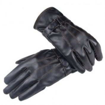 Button Sewing Unisex PU Gloves