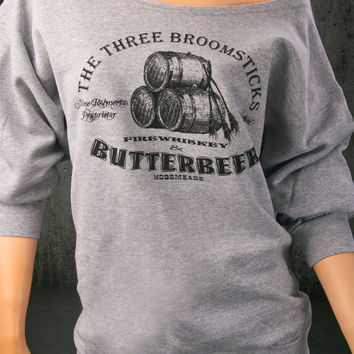 BUTTERBEER Harry Potter Woman's Off The Shoulder Slouchy Flashdance Style Sweatshirt. The Three Broomsticks at Hoagsmead
