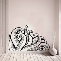 Wall Decals Vinyl Sticker Octopus Tentacles Poulpe Delfish Fish Deep Sea Ocean Animals Wall Decal Bedroom Decor