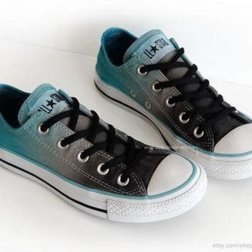 CREYON ombr dip dye converse graphite grey turquoise low tops tie dye sneakers upcycled