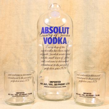 Absolut Vodka Carafe And Rock Glass Set, Drinking Glass, Pitcher, Drinking Set, Upcycled Liquor Bottle, Liquor Bottle Drinking Glass