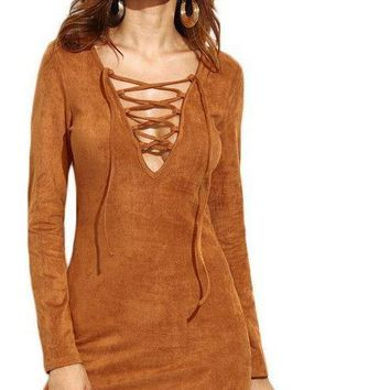 COLROVIE Camel Faux Suede Lace Up V Neck Bodycon Dress New Style Plunge Long Sleeve Sexy Mini Dress