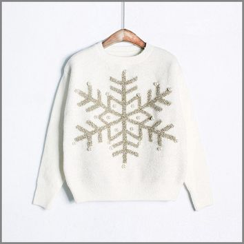 Pearl Snowflake Sweater Christmas Women Pullover Jumper Women Sweaters And Pullovers Sequin Kerst Ugly Sweater Christmas P6C1163
