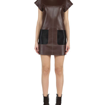 Fendi Leather Dress w/ Calf Hair Pockets