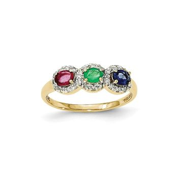 14K Yellow Gold African Ruby, Emerald, Sapphire and Diamond Three Stone Ring