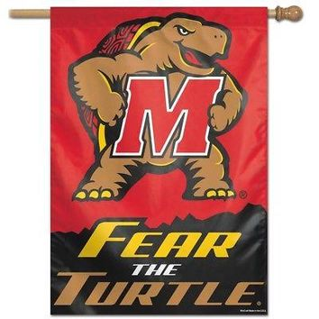 "MARYLAND TERRAPINS FEAR THE TURTLE 28""X40"" BANNER FLAG BRAND NEW WINCRAFT"