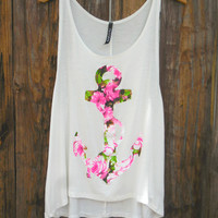 Flowers on Anchor Tank [7286] - $16.80 : Feminine, Bohemian, & Vintage Inspired Clothing at Affordable Prices, deloom